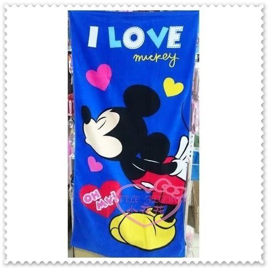 ♥小花花日本精品♥ Mickey 米奇 藍色 翹屁股 閉眼 kiss 接吻 愛心 大浴巾 100%棉 57022307
