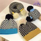 秋冬季兒童帽子圍巾套裝毛線帽男女童條紋針織帽子保暖兩件套冬天