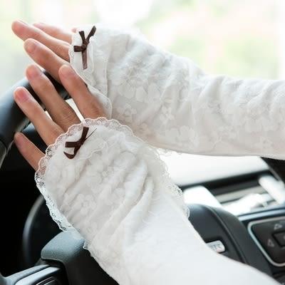夏季女士開車袖套夏天長款防曬手套優雅蕾絲騎電動車防紫外線  -82220014
