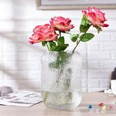 花瓶 小清新北歐簡約擺件玻璃客廳透明大號水竹插花干花玫瑰百合家居 KB8749【野之旅】