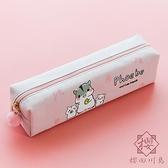 簡約透明筆袋女韓版大容量可愛多功能卡通鉛筆袋【櫻田川島】