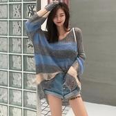新款韓版學生寬鬆條紋薄針織衫休閒防曬破洞蝙蝠袖上衣