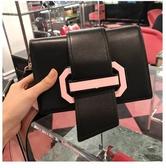 ■專櫃72折■Prada 全新真品  普拉達 1BD067 Piex Ribbon 小牛皮緞帶翻蓋包 黑色