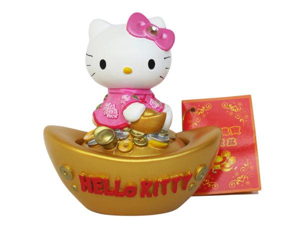 【卡漫城】 Hello Kitty 招財 聚寶盆 粉 ㊣版 開運 元寶 造型 桌面 擺飾 五行水晶石 辦公桌