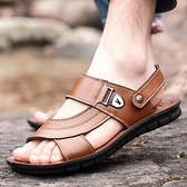 涼鞋 男士真皮涼鞋牛皮涼鞋男休閒拖鞋男夏季露趾2021新款潮沙灘鞋