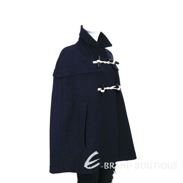 BURBERRY 深藍色羊毛牛角釦斗篷 1630157-34