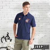 【JEEP】美式造型徽章短袖POLO衫-深藍
