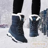 雪地靴女鞋冬季加絨加厚保暖中筒靴棉鞋防滑防水【繁星小鎮】