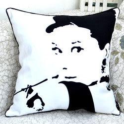 時尚赫本黑白印花沙發靠枕 抱枕 腰枕 靠背墊