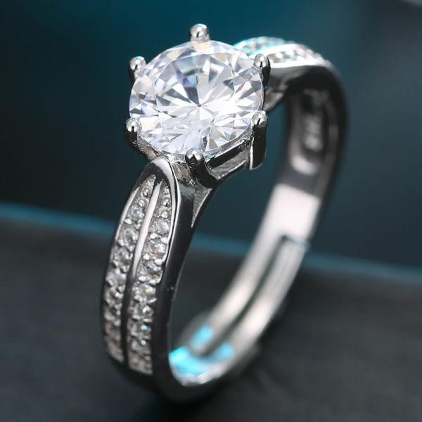 預購-鋯石雙鑽邊銅質戒指