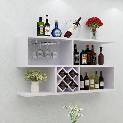 墻上酒櫃壁掛式創意簡約紅酒架客廳jy實木格子墻壁裝飾置物架【限量85折】