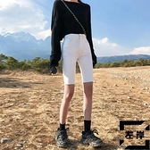 牛仔五分褲女高腰短褲中褲黑色顯瘦緊身騎行褲夏季【左岸男裝】