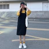 春季新款韓版背帶裙法式復古牛仔洋裝黑色裙子小眾設計女裝 夏季新品