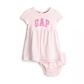 Gap女嬰棉質舒適徽標LOGO連衣裙543892-淡粉色