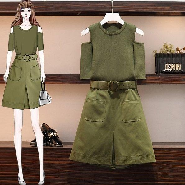 套裝兩件套L-4XL中大尺碼女裝洋氣顯瘦心機時尚兩件套裝3F088.5299皇潮天下