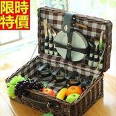 野餐籃 餐具組合-歐式懷舊格子四人份郊遊用品68e40【時尚巴黎】
