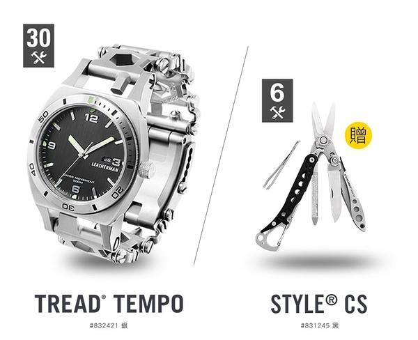 美國Leatherman TREAD TEMPO 工具手鍊錶-(公司貨)#832421 (銀)