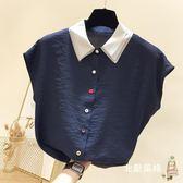 快速出貨-短袖襯衫2018夏季新品韓國氣質翻領彩色單排扣短袖雪紡衫女素面薄款襯衫