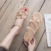 平底涼鞋 涼鞋女 夏季 仙女風溫柔鞋平底兩穿涼拖軟底百搭羅馬鞋子潮