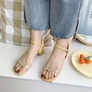 夏季新款韓版粗跟露趾涼鞋女時尚百搭羅馬鞋一字帶涼鞋女  【快速出貨】