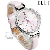ELLE 時尚尖端 簡約羅馬晶鑽淑女錶 纖細錶帶 手環錶 防水手錶 女錶 粉紅 ES21011S04X