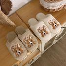 韓國可愛卡通棉拖鞋女冬居家用室內防滑學生羊羔毛棉鞋