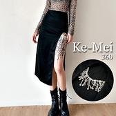 克妹Ke-Mei【ZT69718】#Sisjuly暗黑奢華十分亮鑽腿鍊開叉長裙