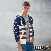 【JEEP】美式潮流星星圖騰連帽外套 (藍)