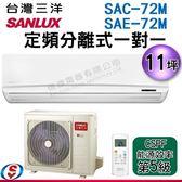 【信源】11坪 SUNLUX台灣三洋定頻分離式一對一SAC-72M+SAE-72M  含標準安裝
