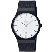 OBAKU 極簡時代優雅時尚腕錶(黑帶白面/大)