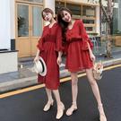 出清388 韓國風顯瘦雪紡波點V領波點氣質短袖洋裝