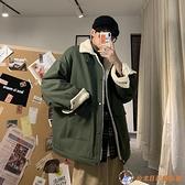潮牌chic棉服男oversize羊羔毛情侶棉衣港風韓版潮流加厚外套【公主日記】