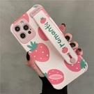 小清新草莓適用iphone12手機殼11promax蘋果x腕帶xr硅膠套8plus夏天女款7水蜜桃se2粉色mini全包防摔xs時尚