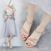 涼鞋 涼鞋女夏季高跟羅馬時裝中跟粗跟仙女風百搭溫柔ins潮鞋