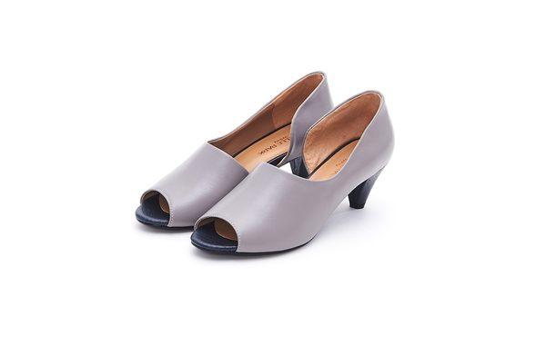MICHELLE PARK 經典手工露腳趾時尚百搭真皮粗跟魚口鞋-灰色