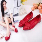 尖頭單鞋淺口平底女鞋船鞋低跟鞋工作鞋粗跟單鞋 K-shoes