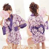 角色扮演 日式 浴衣 性感 情趣睡衣 曼妙紫戀碎花日系和服『包裝私密-芯love』