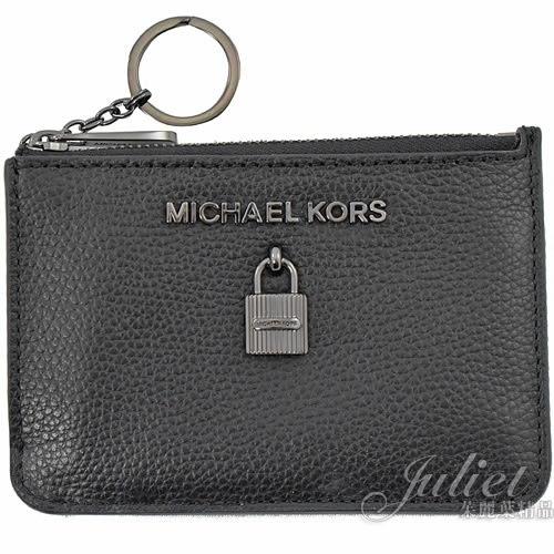 茱麗葉精品【全新現貨】MICHAEL KORS ADELE 鎖頭造型鑰匙環零錢包.黑