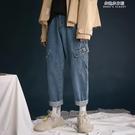 美式復古工裝牛仔褲新款春秋大碼ins嘻哈風寬鬆九分直筒褲女 朵拉朵