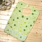 成人PVC防水圍兜/圍巾(綠色碎花款)加長加寬、下擺反摺
