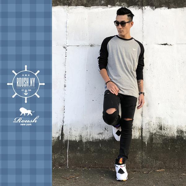 【Roush】 3 stripes立體織帶拉克蘭袖長TEE -【912561】