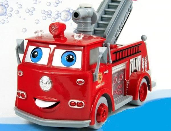 *粉粉寶貝玩具*超夯~會吹泡泡的全自動萬向車泡泡消防車~電動音樂聲光消防車~