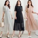 MIUSTAR 微透肌!鏤空蕾絲縮腰洋裝(共3色)【NJ1022】預購