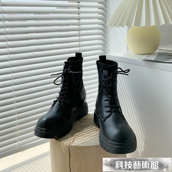 馬丁靴女春秋單靴2021新款厚底內增高小個子英倫風短靴ins潮