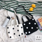 茶話會韓國 可愛波點百搭手提單肩包斜跨包女帆布包購物袋學生