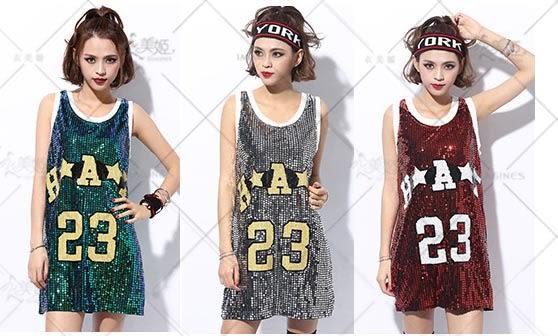 衣美姬♥韓版DS演出舞服 無袖閃亮亮 數字百搭款背心 可當長版裙穿 熱賣款