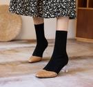 手工真皮女鞋34-39 2020新款法式复古优雅百搭顯瘦小方头高跟時裝靴 短靴子 ~2色