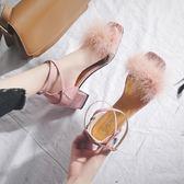 涼鞋 2018新款夏季女鞋韓版百搭時尚粗跟一字扣小清新高跟鞋