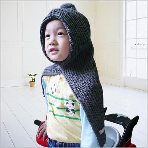 AJ Hippo 小河馬 披風帽圍 2-6歲 灰色