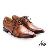 A.S.O 零壓挺力 綁帶蠟感牛皮雕花紳士鞋 茶色